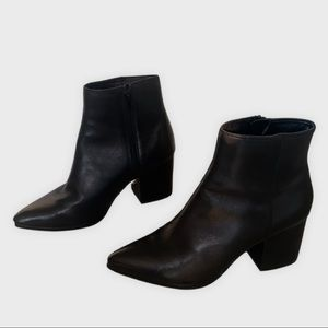 Aldo Black Leather Ankle Boots | 7.5